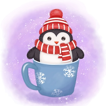 Adorable penguin illustration for christmas decoration