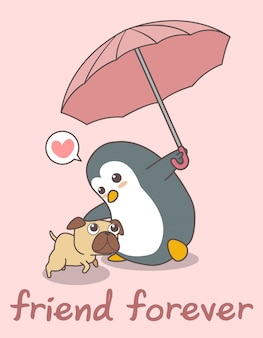 Adorable penguin is holding umbrella with a dog