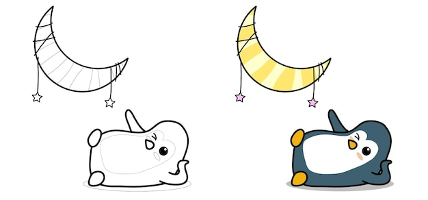 Adorable penguin and the moon cartoon coloring page for kids
