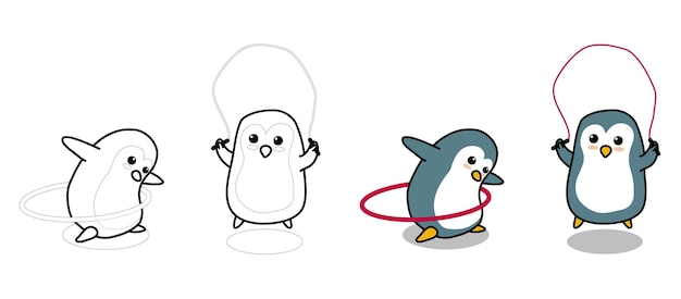 Adorable penguins are exercising cartoon coloring page for kids