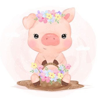 Adorable pig and flowers illustration for children