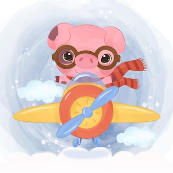 Adorable piglet flying with an airplane in watercolor illustration