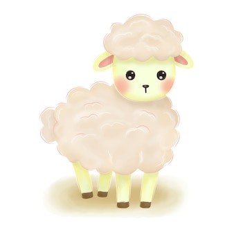 Adorable pink baby lamb illustration for nursery decoration