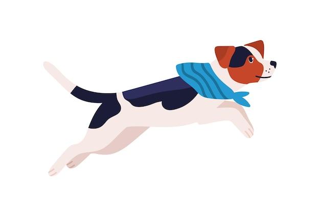 Очаровательная игривая собака породы бигль в шарфе, изолированном на белом. активные прыжки мультфильм домашних животных вектор плоской иллюстрации. милая дружелюбная бегущая собака.