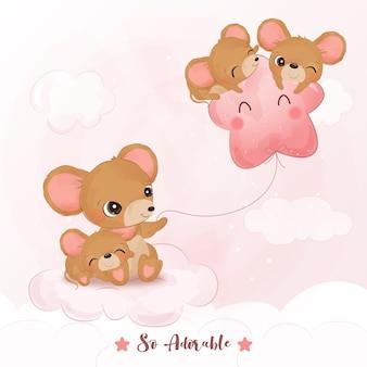 수채화 그림에서 사랑스러운 장난 쥐