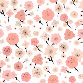 白の上の愛らしい梅の花のシームレスなパターン