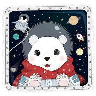 Adorable polar bear astronaut adult coloring page