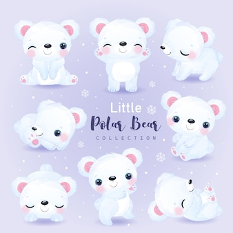 Adorable polar bear illustration in watercolor for nursery decoration