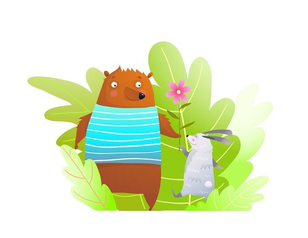 森の赤ちゃん動物の組成の愛らしい肖像画面白い愚かな顔の漫画のクマとウサギの友達。