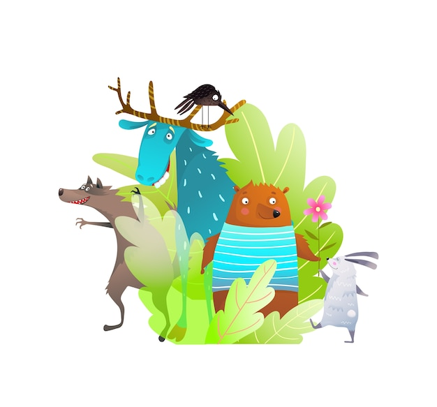 Adorable portrait of woodland baby animals composition funny silly faces cartoon, hare bear wolf and moose friends.