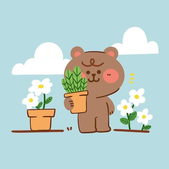 사랑스러운 자랑스러운 테디 베어는 식물 낙서를 과시합니다.