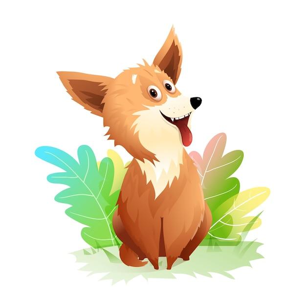 혀가 튀어나와 자연 속에 앉아 있는 사랑스러운 강아지