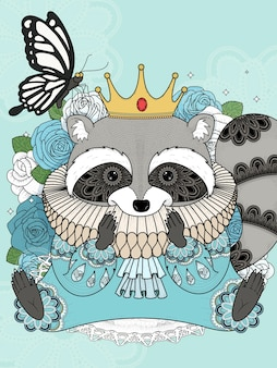 Adorable raccoon in gorgeous clothes adult coloring page
