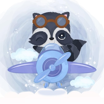 Adorable racoon flying with an airplane in watercolor illustration