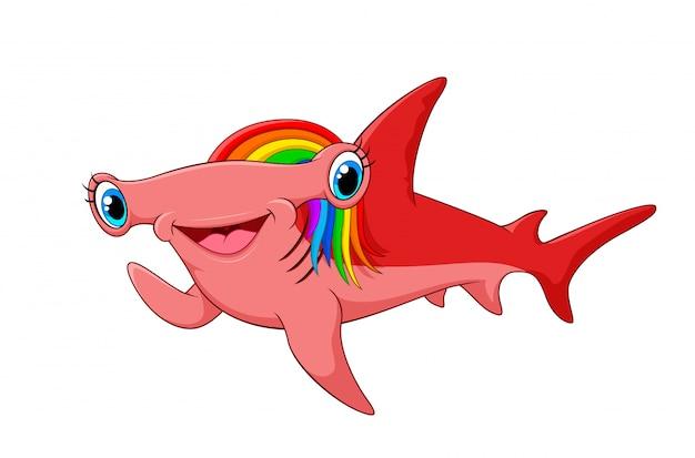 Adorable rainbow haired hammerhead shark waving hand