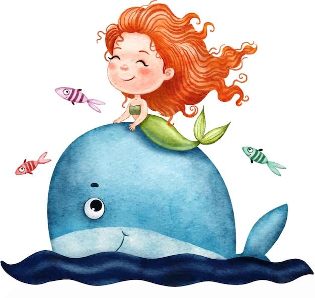 사랑스러운 빨간 머리 인어는 흰색에 고립 된 바다에서 큰 푸른 고래에 수영