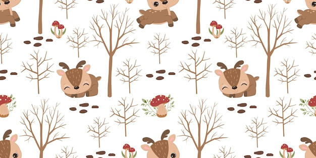 Adorable reindeer seamless pattern for children fabric wallpaper and many more