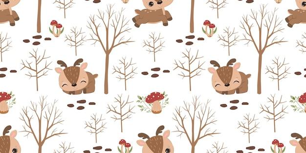 어린이 패브릭 벽지 등을 위한 사랑스러운 순록 원활한 패턴