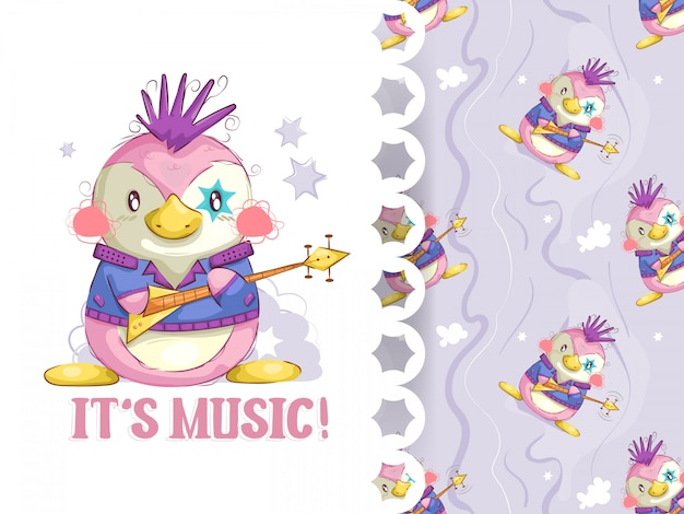 Adorable rocker penguin and background pattern