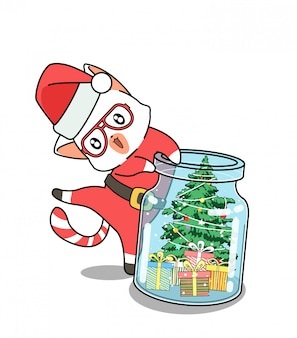 Adorable santa cat and christmas day in the bottle Premium Vector
