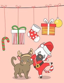 Adorable santa cat and reindeer cat in christmas day