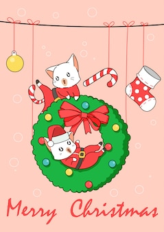 Adorable santa cats in christmas day