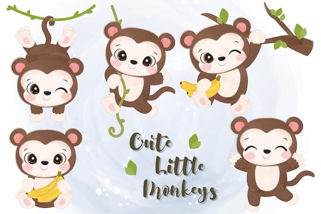 작은 원숭이 그림의 사랑스러운 세트