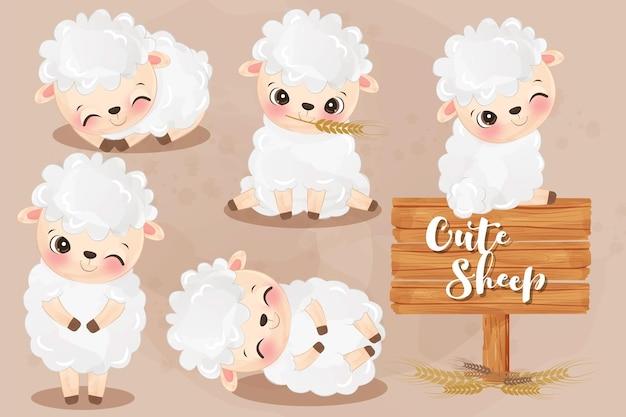 水彩で愛らしい羊のイラスト
