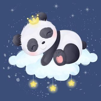 Adorable sleeping baby panda on the cloud