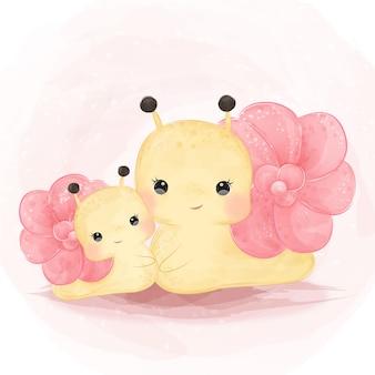 子供のための愛らしいカタツムリの母性図