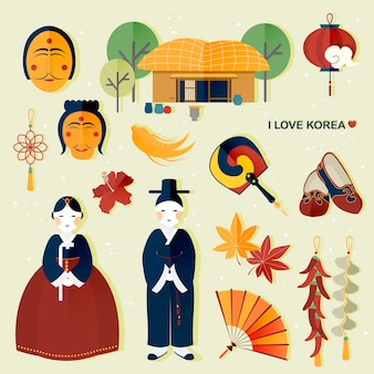Adorable south korea travel collections in flat style