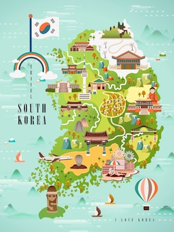 Adorable south korea travel map design in flat style