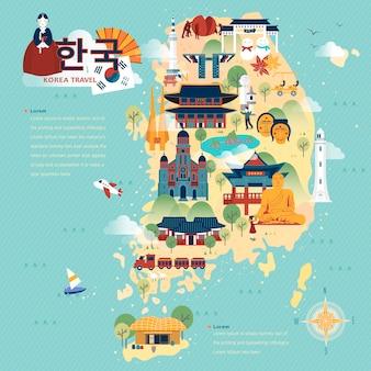 フラットスタイルの愛らしい韓国旅行地図-左上の韓国語で韓国
