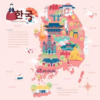 플랫 스타일의 사랑스러운 한국 여행지도 - 왼쪽 상단의 한국어 단어로 된 한국
