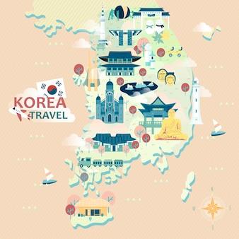 カラフルなアトラクションのある愛らしい韓国旅行地図