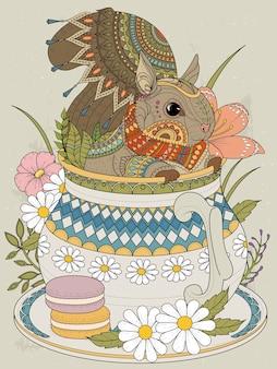 Adorable squirrel in a teapot