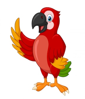 Adorable standing macaw waving cartoon