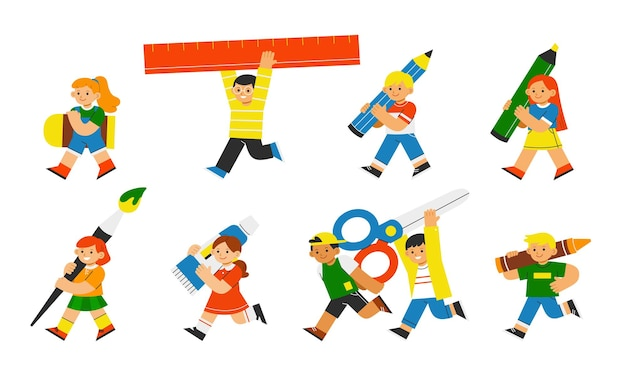 Очаровательные ученики вернулись в школу с художественными принадлежностями. снова в школу иллюстрации концепции.