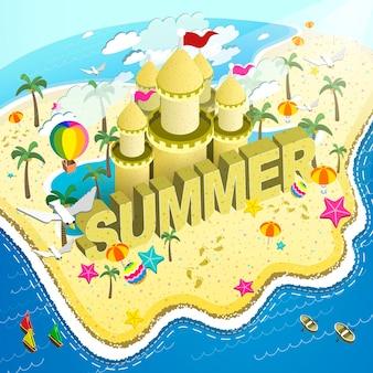 사랑스러운 여름 해변 플랫 3d 아이소메트릭 infographic