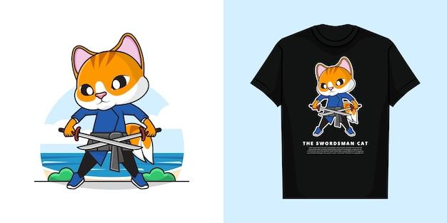 Tシャツと愛らしい剣士猫
