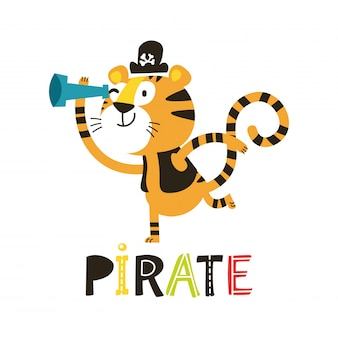 Adorable tiger pirate isolated on white background