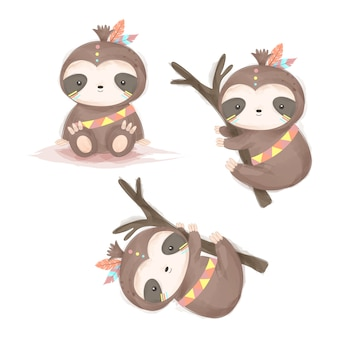 Adorable tribal sloth cliparts