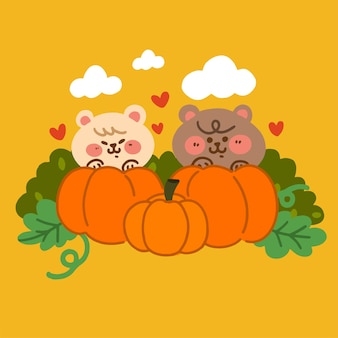사랑스러운 두 개의 작은 곰 인사 가을 시즌 낙서