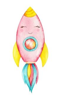 愛らしいユニコーンロケット。子供たちのデザインのためのカラフルなピンクの笑顔の宇宙船。ホーンと虹の火で水彩のシャトル。孤立した