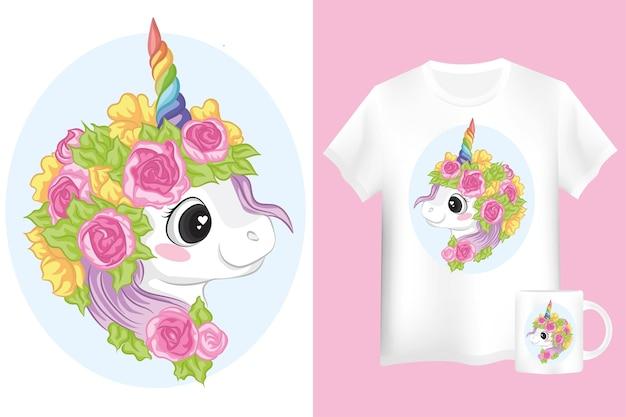 ピンクと黄色の花を持つ愛らしいユニコーン。ユニコーンの漫画のキャラクターでシャツとマグカップをモックアップします。