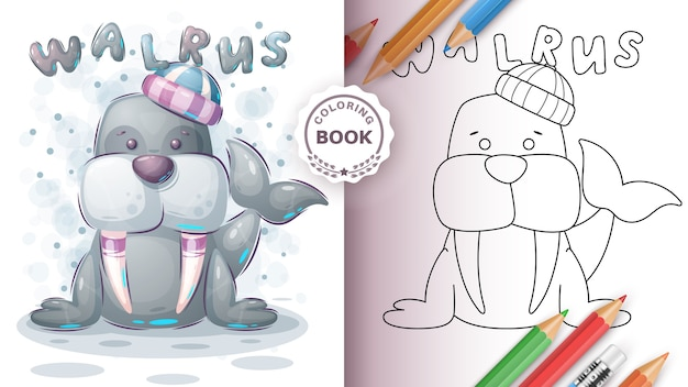 Adorable walrus - coloring book for kid and children