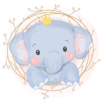 Adorable watercolor baby elephant
