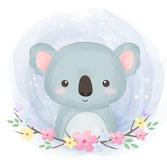 Adorable watercolor koala illustration