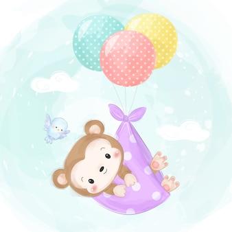 Очаровательная иллюстрация стиля акварели обезьяны