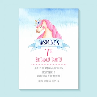 Adorable watercolor unicorn invitation, cute and girlie unicorn birthday invitation design.